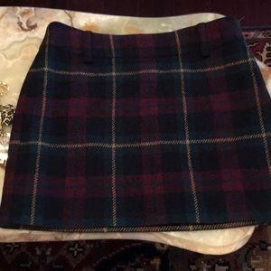 Ralph Lauren Short Plaid Wool Skirt